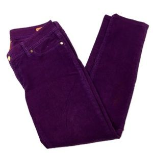 Tory Burch Purple Corduroy Skinny Jean